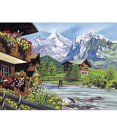 possible nursery wall mural?  Paint By Number Kit-Mountain Scene, , hi-res