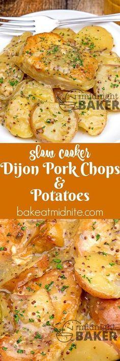 Slow Cooker Dijon Pork Chops & Potatoes ~ grainy dijon mustard adds great flavor to this simple pork chop and potatoes crock pot meal!