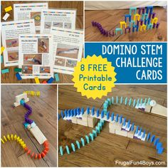 Engineering Challenges with Domino Chain Reactions (Printable Cards!) - Frugal Fun For Boys and Girls Building Games For Kids, Team Building Activities, Stem Activities, Learning Activities, Activities For Kids, Teaching Ideas, Team Challenges, Engineering Challenges, Free Printable Cards
