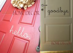 Vinyl Wall Decal Art  Hello front door sign by WOWhomedecor, $8.00