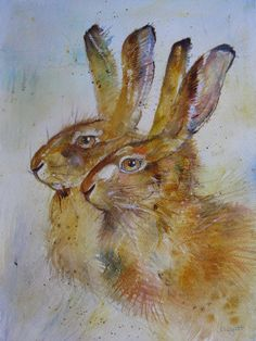 My friend Kate Wyatt's painting of two young hares.