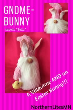 """Isabella """"Bella"""" is 12 inchess tall. Bella is ready to be your valentine AND your Easter bunny! Why not get a two for one holiday decoration! Bella is quite lively -even by bunny standards- and comes with her best friend """"Wooly"""". Bella and Wooly are quite mischievous!"""