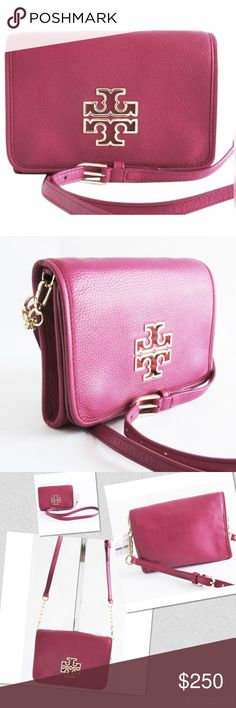 "Tory Burch ""Britten"" Raspberry Pebbled Leather Tory Burch ""Britten"" Raspberry Pebbled Leather Crossbody Bag Purse  Gold-tone hardware on detachable shoulder strap, Signature gold tone logo on front, Snap closure, Adjustable detachable shoulder strap  2 main pockets under flap closure, one is open and the other is zipper closure, In the open pocket there is side zip pocket and 2 slip pockets, Inside lined with signature fabric Height: 6"", Length: 8.25"", Strap drop at longest length: 24""…"