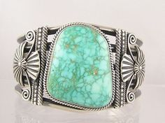 Cuff | Delbert Gordon, Navajo.  SpiderWeb Godber turquoise and sterling silver.