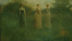 """""""In the Garden"""" by Thomas Wilmer Dewing. 1892-94 oil on canvas. In the collection of The Smithsonian American Art Museum, Washington, DC. Gift of John Gellatly."""
