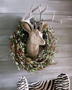 stone deer head + olive & twig wreath