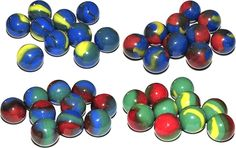 """Unique and Custom {5/8' Inch} Set of 40 """"Round"""" Opaque Marbles Made of Glass for Filling Vases, Games and Decor w/ 10 Each Color Primary Swirl 4 Team Vs Design (Blue, Red, Green and Yellow Colors) * Click image for more details. (This is an affiliate link and I receive a commission for the sales)"""
