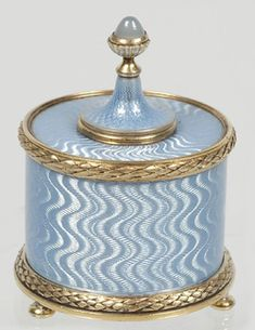 Fabergé jeweled, sky blue guilloche enamel, and silver gum pot, Moscow.