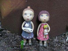 Ooak Dolls, Art Dolls, Socha, Clay Owl, Crow, Christmas Ornaments, Holiday Decor, Artwork, Handmade