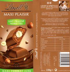 tablette de chocolat lait gourmand lindt maxi plaisir lait praliné noisettes