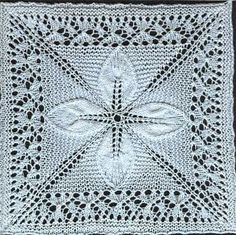 Free knitting pattern for a counterpane motif knit in the round with leaves and a lace border. Updated for modern knitters and test knit.