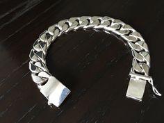 Mens .925 Sterling Silver Thick and Heavy Barbado chain link bracelet handmade. by ARTESANOSMEX on Etsy