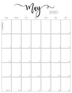 Vertical 2020 Monthly Calendar - Stylish (and free! Free Printable Calendar Templates, Monthly Calendar Template, Free Printables, Monthly Calendars, Email Templates, Blank Calendar Pages, Calendar Design, Art Calendar, Calendar 2020