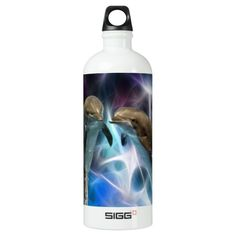 Dolphins and fractal crystals water bottle