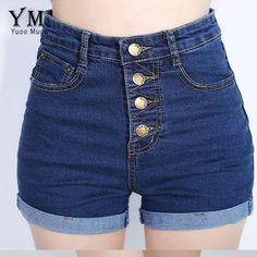 Yuoomuoo 2017 di modo 4 pulsanti retro elastico pantaloncini a vita alta Feminino Shorts In Denim per Le Donne Allentato Plus Size Blue Jeans breve