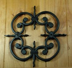 Speakeasy, Window or Gate Grille, Solid Iron, Black finish Deco Grille Perfect accent for centerpiece on gates or doors Interior Barn Door Hardware, Gate Hardware, Rustic Hardware, Sliding Barn Door Hardware, Interior Doors, Sliding Door, Door Hinges, Door Knockers, Decorative Hinges