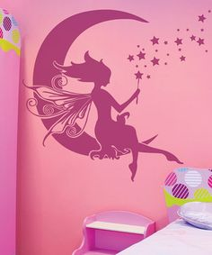 Take a look at this Pink Moon Fairy Wall Decal by Sissy Little on today! Fairy Dust, Fairy Tales, Girl Nursery, Girl Room, Kids Room Murals, Kids Rooms, Ideas Habitaciones, Moon Fairy, Wall Decals
