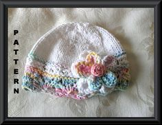 Knitting Pattern for Brimmed Baby Hat in White by CottonPickings