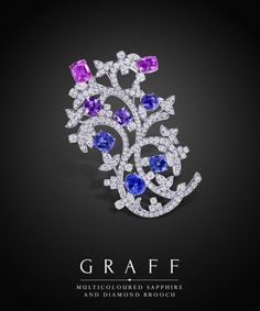 Graff Diamonds: Multicoloured Sapphire and Diamond Brooch