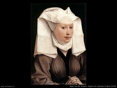 rogier_van_der_weyden_011_signora_con_copricapo_di_garza_1445.jpg (1024×768) Rogier van der Weyden amava dipingere su tavola opere di natura storica o religiosa, oltre che ritratti molto realisti caratterizzati da colori vivaci diventando uno dei pittori più imitati dagli artisti del Rinascimento del Nord.