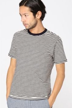 ALEX MILL /アレックスミル:シンストライプ半袖クルーネックTシャツT