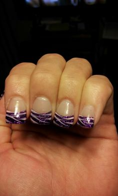 Pink and purple zebra nails
