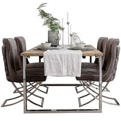 Reclaimed Wood Dining Table with stainless steel base. Industrial Style Dining Table made using reclaimed elm wood. Comes with free UK delivery! Dining Room Table Decor, Fabric Dining Chairs, Modern Dining Chairs, Upholstered Dining Chairs, Dining Room Furniture, Wood Furniture, Industrial Style Dining Table, Reclaimed Wood Dining Table, Solid Wood Dining Table