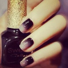 Ombre manicure-if only I had finger nails! Get Nails, Love Nails, How To Do Nails, Pretty Nails, Gorgeous Nails, Chic Nails, How To Ombre Nails, Style Nails, Funky Nails