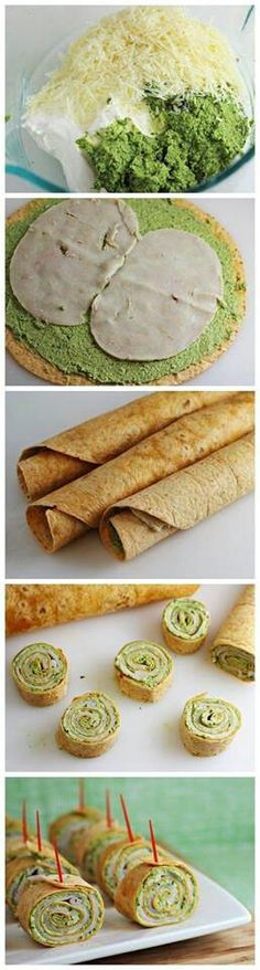 Pesto Tortilla Pinwheels--perfect little snacks Snacks Für Party, Appetizers For Party, Appetizer Recipes, Snack Recipes, Cooking Recipes, I Love Food, Good Food, Yummy Food, Tapas