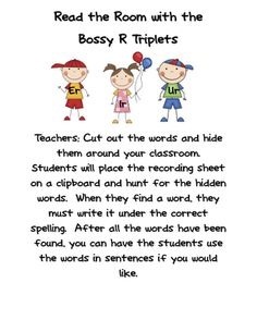 Fun in First Grade: Bossy R Triplet Read the Room Activity First Grade Phonics, First Grade Activities, First Grade Classroom, Reading Activities, Teaching Reading, Teaching Phonics, Kindergarten Literacy, Student Teaching, R Words
