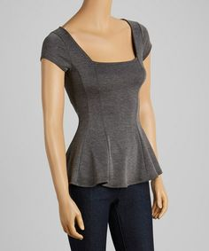 Another great find on #zulily! Charcoal Pleated Top #zulilyfinds
