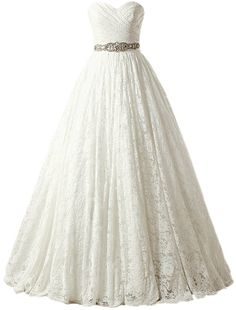 SOLOVEDRESS Womens Ball Gown Lace Princess Wedding Dress 2017 Sash Beaded Bridal Evening Gown Customized SizeIvory * Click on the image for additional details-affiliate link. #WomenDresses
