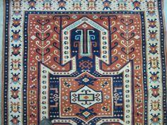 Rare Caucasian Kazak Bordjaloo Early 1900's Oriental Rug