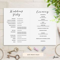 Folded Wedding Program Template Modern Sweet Bomb Edit Print