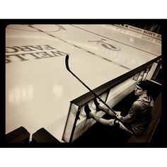 And there lies the ice - A canvas for a game plan - Sketched out in my mind (Zach Parise hours before the game. Photo by carlosgphoto)
