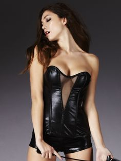 Anya Black Wetlook Corset - Ann Summers