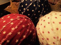 Primitive rag balls. Set of 3. Patriotic red white and blue rag balls. Bowl…