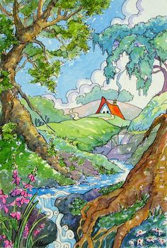 My cottages attempt to portray home at its best...cozy, comforting and colorful. The note cards are printed on premium matte white paper and measure 4.5 by 5.5 inches. All images are from my original watercolor series Storybook Cottages.
