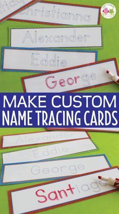 Teach kids to write their names with these editable name tracing cards. A great sign-in activity or ELA center, literacy center, writing center activity for. Preschool Name Recognition, Name Activities Preschool, Name Writing Activities, Writing Center Preschool, Kindergarten Names, Name Writing Practice, Handwriting Activities, Preschool Centers, Preschool Lessons