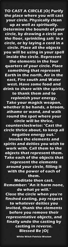 Really clear but nice and basic instructions for casting a circle. #Spell