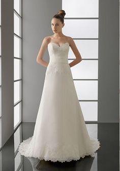 Elegant Organza Sweetheart A-line Floor Length Wedding Dress With Appliques BG000376