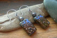 Earthy rectangle glass earrings in blue and black by kmaylward