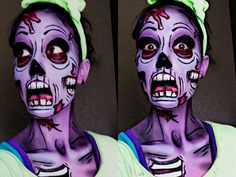 Pop Art Zombie #Halloween #zombie #facepaint #popart