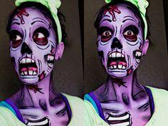 Pop Art Zombie #Halloween #zombie #facepaint #popart