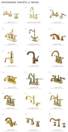 When it comes to picking out a bathroom faucet it use to mean picking from the meager and quite limited selection at your local hardware store, or trying to navigate one of the bathroom showrooms just…More Brass Bathroom Fixtures, Silver Bathroom, Bathroom Hardware, Bathroom Sink Faucets, Small Bathroom, Bathroom Lighting, Plumbing Fixtures, Brass Hardware, Concrete Bathroom