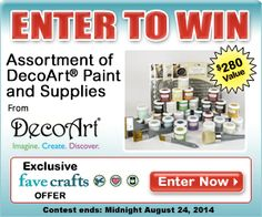Enter to win the DecoArt Grand Prize Giveaway!  Hurry, contest ends August 24th! 29 jars of Chalky Paint, 2 waxes, 2 varnishes, 3 brushes, 1 waxing brush, 12 home decor stencils!