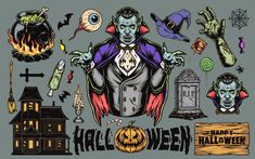 Colorful Halloween vector illustrations with Vampires, pumpkins, a ghost house, a black cat, Zombie's body parts, RIP, a broom, etc. Created by DGIM Studio. On our website you'll find cool Halloween designs, which you can use to create an awesome Halloween costume! #halloween #vampire #vector #vectorillustration