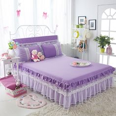 Cotton Bed Skirt Princess Embroidery Bedding with Lace Ruffle Bed Sheet Bed Bedspread Solid Color Bedskirt
