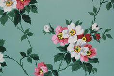 1940's Vintage Wallpaper Pink and White Flowers by RosiesWallpaper