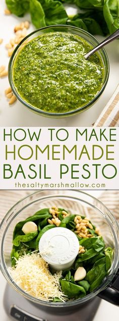 Homemade Pesto Recipe - An easy recipe for homemade basil pesto! Pesto is made from a mixture of fresh basil, garlic, cheese, nuts, and olive oil. Find out how to make it at home! dinner for three Homemade Pesto Recipe Italian Recipes, New Recipes, Vegetarian Recipes, Cooking Recipes, Favorite Recipes, Healthy Recipes, Easy Recipes, Salad Recipes, Vegetarian Italian